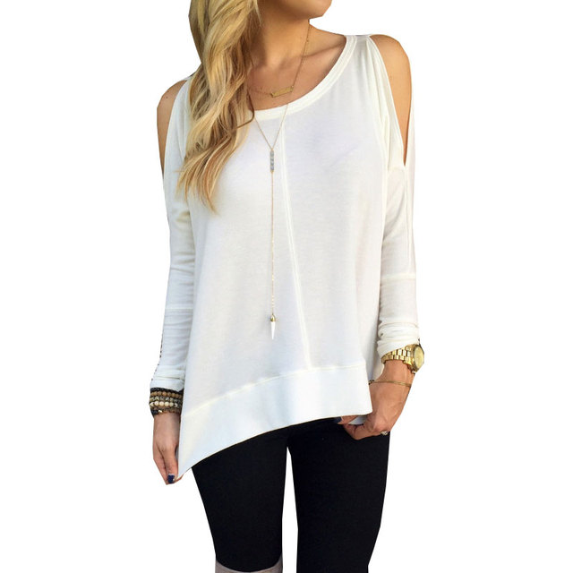 Fashion Women Tshirts New 2015 Sexy Off Shoulder Tops Long Sleeve Casual Shirt For Women Casual  Tops Plus Size