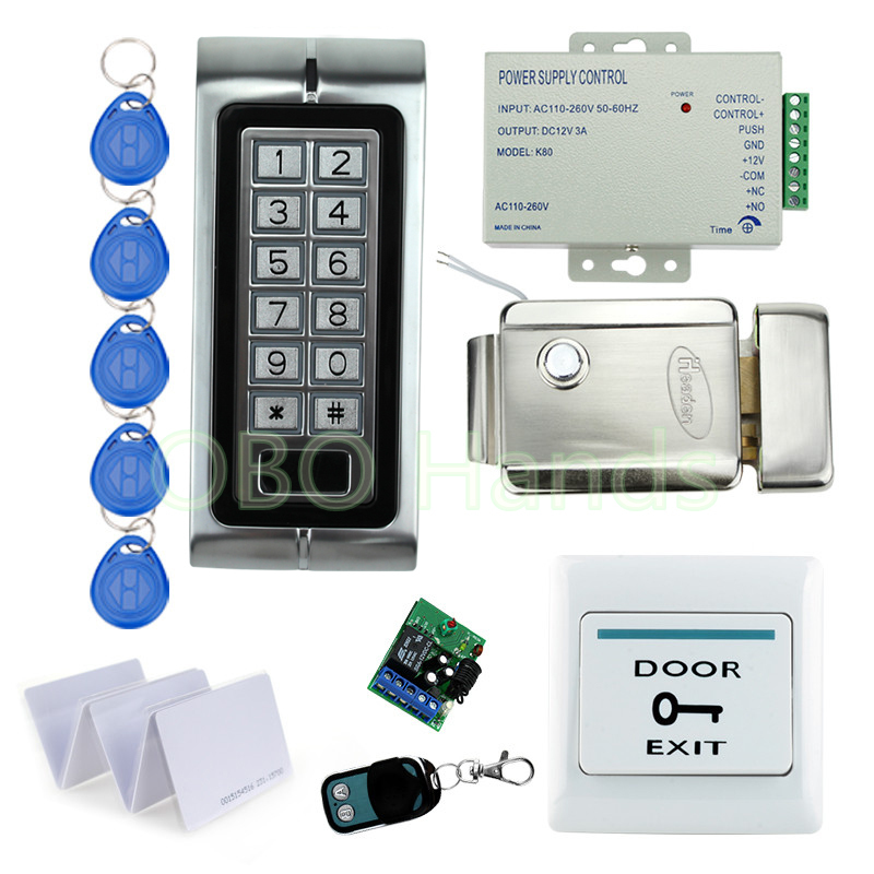 Free Shipping waterproof Access control With Metal keypad Remote Control lock system with Electronic Control Door Lock +10 cards 5piece 100