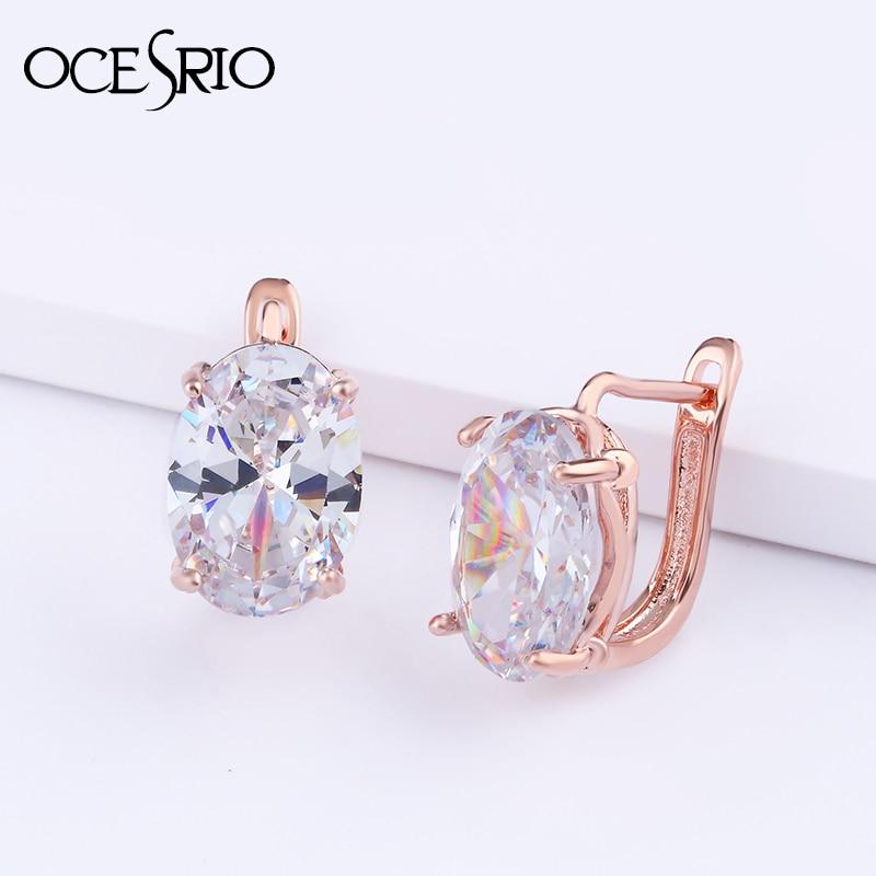 ef5e41697 OCESRIO Rose Gold 585 Big Oval Zircon Earring with Stones Dainty Korean Stud  Earrings For Women