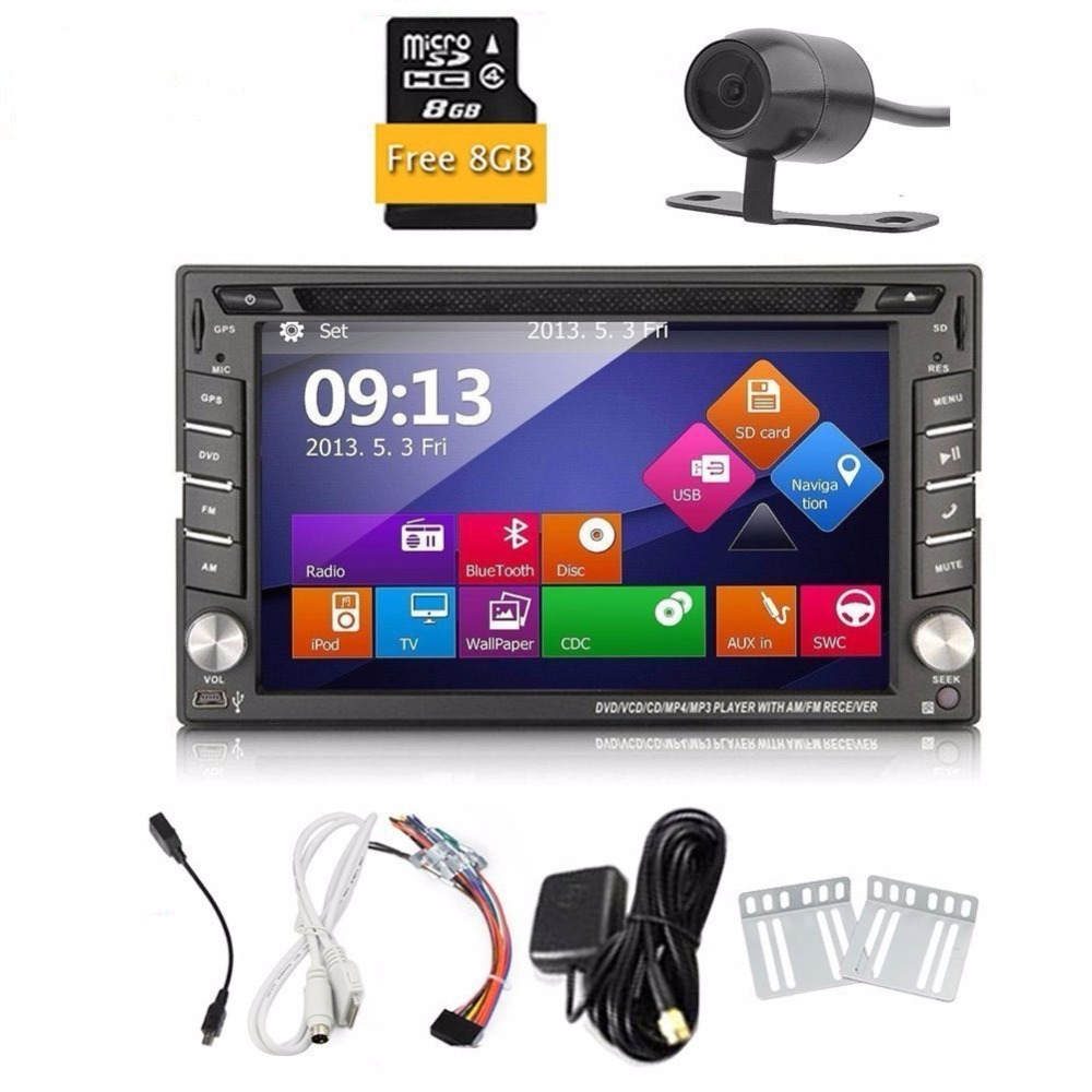 Free Rearview Camera+HD Digital Touch Screen 2 Din Car DVD Player GPS Navigation 6.2'' Car Stereo In Dash Car Radio Supports sd free rearview camera touch screen 2 din car cd dvd player gps navigation car stereo in dash auto radio supports bluetooth ipod