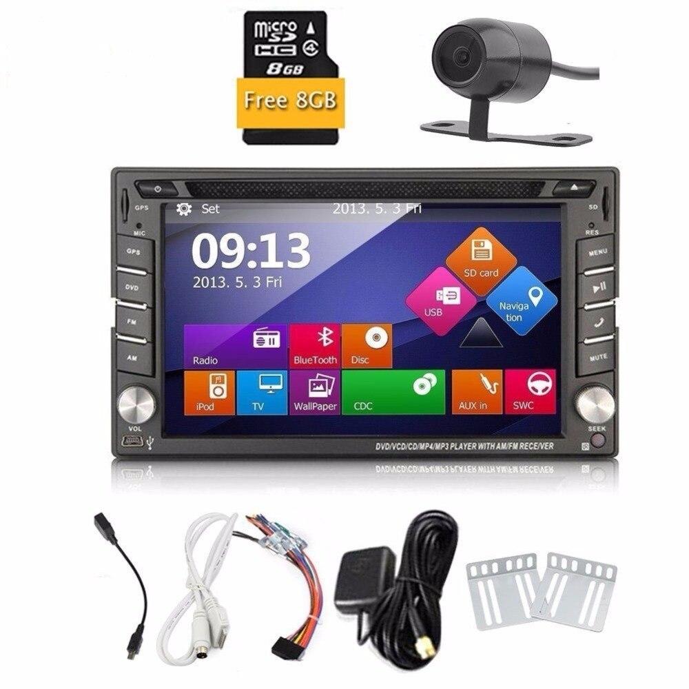 Grátis Retrovisor Camera + HD Tela de Toque Digital 2 Din Carro DVD Player Navegação GPS 6.2 ''Car Stereo In Dash Car Radio Suporta sd