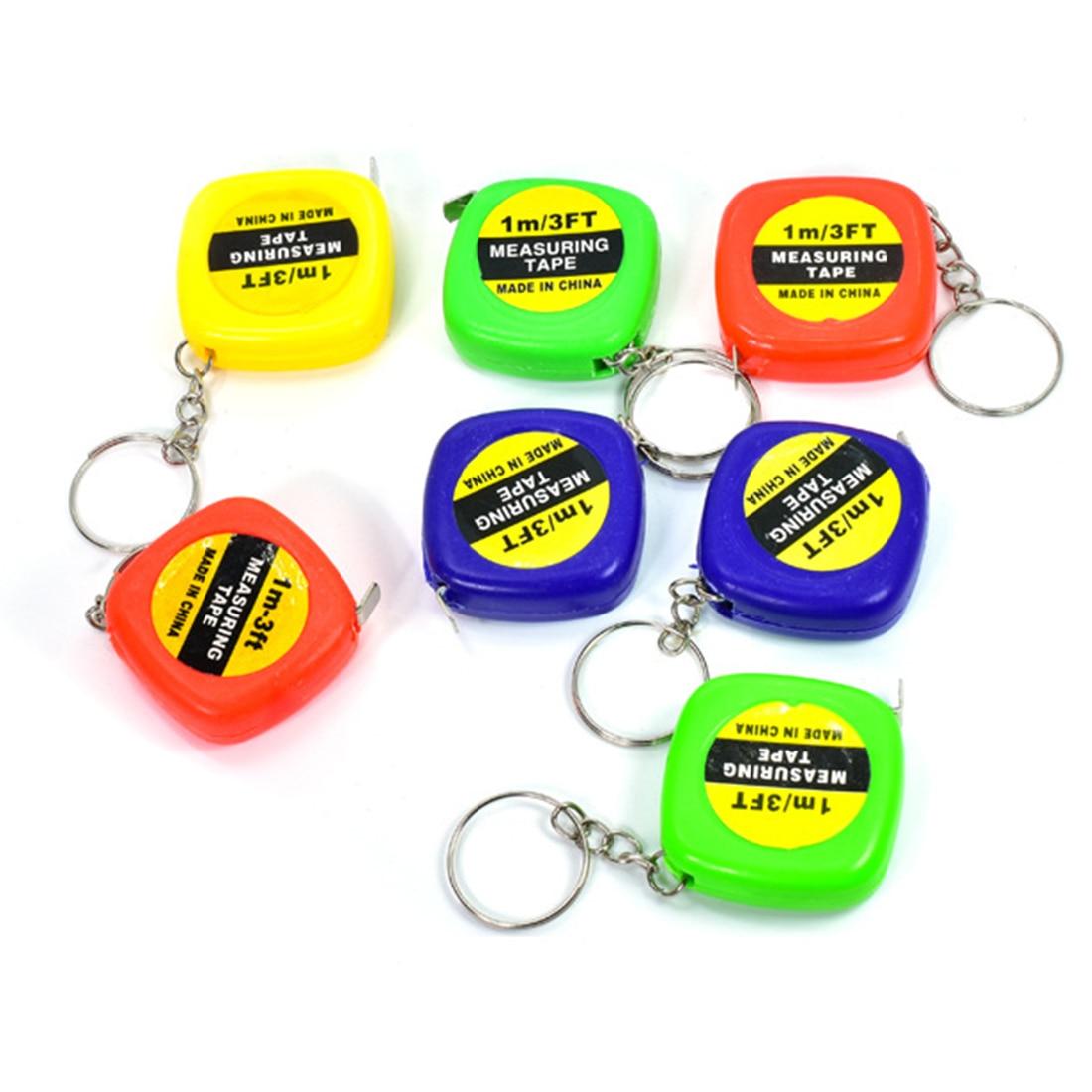 1pc Children Height Ruler 1m/3ft Easy Retractable Measure Ruler Tape Mini Portable Pull Ruler Keychain Color Random