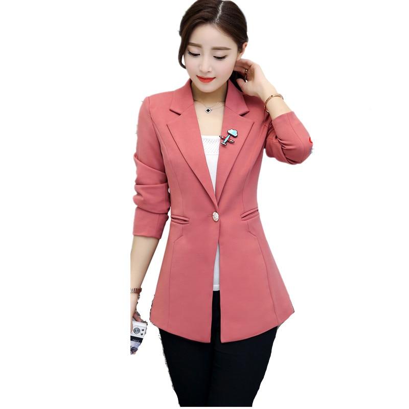 Spring Work Long Jacket 2018 Suit Blazer Women Single Button Blazer Feminino Ladies Blazers Plus Size 4XL Office Outwear C3178