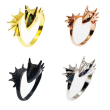 1pc Open Ring Women Girls Brass Cool Wings Flying Dragon  Rings Resizable Gift Fantasy Personality Jewelry