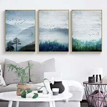 Nordic Style Posters and Prints Forest Landscape Canvas Painting Nature Birds Modern Home Decoration Living Room Wall Artwork