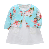 2018 Summer Baby Sets New Infant Baby Girls Clothes Cute Cardigan Bodysuit Dress 2pcs Baby Sports