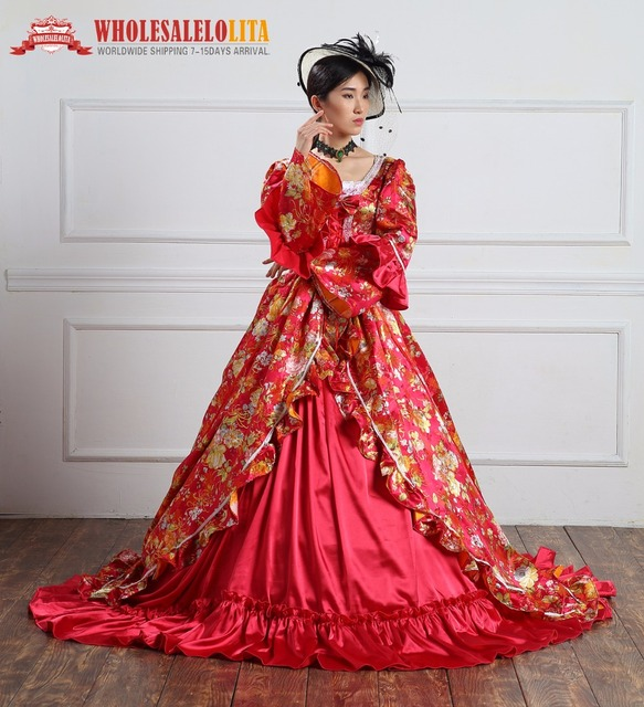 High Quality Holiday Marie Antoinette Dress Period Long Train Medieval  Victorian Royal Women Costume Custom Made 79632cca986a