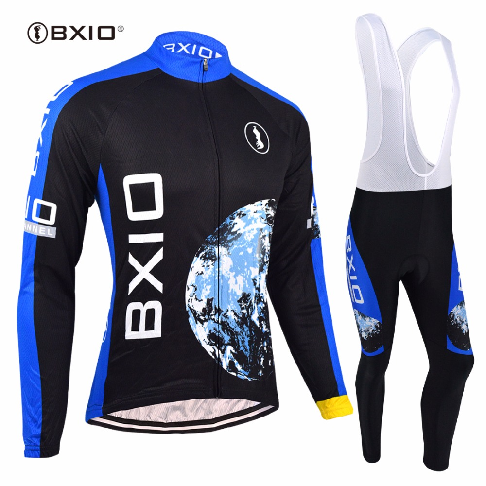 BXIO Long Sleeve Thermal Fleece Cycling Sets Lycra Sport Wear Men Road Riding Outfits Garments Cycle Team Racing Maillots 055