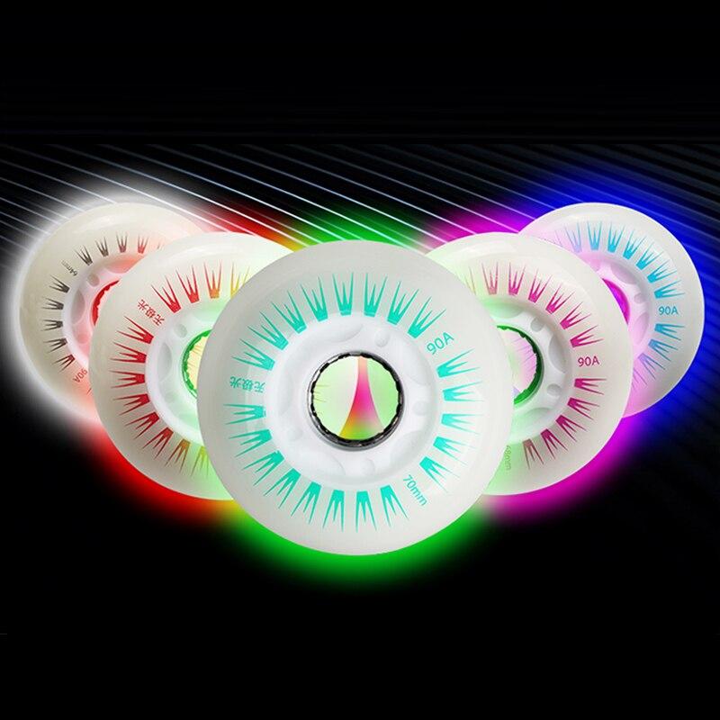 4 pcs 90A Flash Inline Patinage Roues Avec Noyau Magnétique Portant Conduit Éclairage Slalom Livraison Coulissante Rouleau Pour SEBA Patines pneus