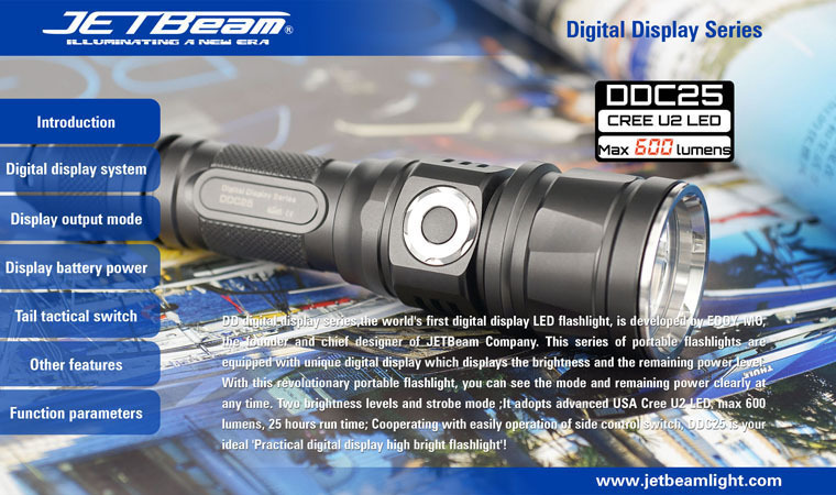 Free Shipping Original JETBEAM DDC25 Cree XM-U2 LED 600 lumens flashlight daily torch Compatible with 18650 battery цена