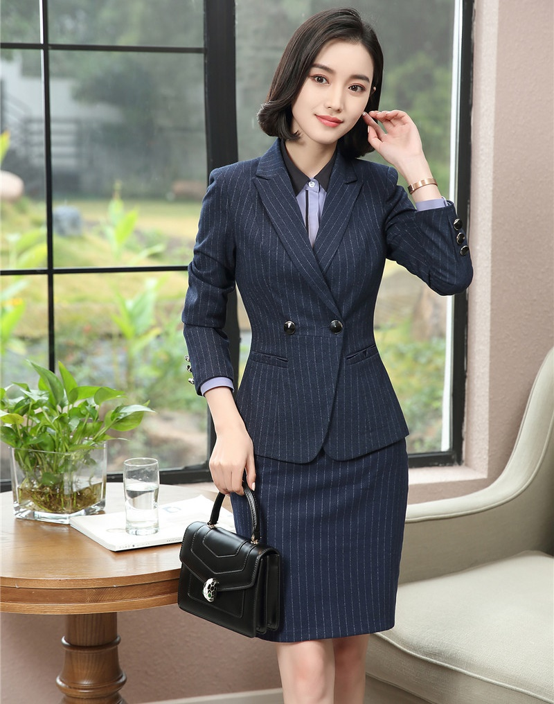 buy popular 03406 1c410 Signore Righe Lavoro formale E Gonna Navy Di Blu Blazer ...
