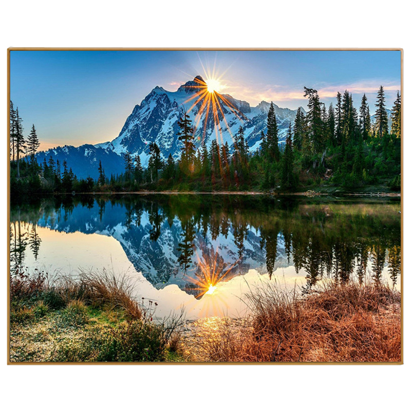 PHKV Lake Landscape Oil Painting By Numbers DIY Digital Pictures Coloring By Number Hand Drawing Coloring On Canvas Home Decor