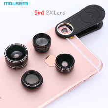 5in1 2x HD Tele Lens 198 Degree Fisheye 0.63x Wide Angle 15x Macro Lenses CPL Lens Clip Fish eye For iPhone 7 6 5s Mobile Phone