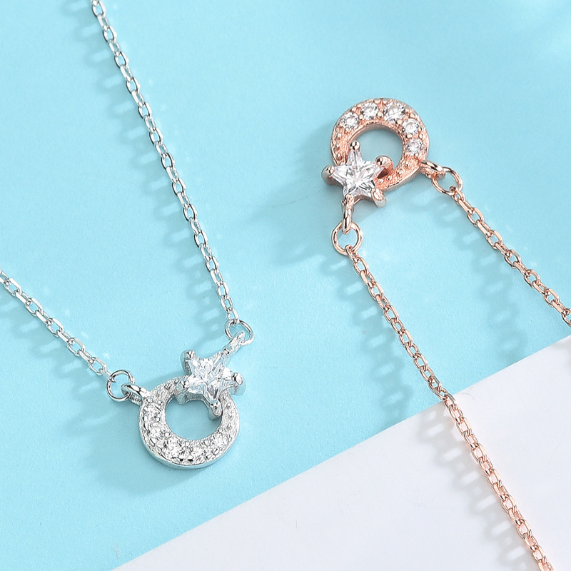 S925 Sterling Silver Necklace High Quality Moon Star Shape Jewelry Wild Necklaces for Women Fashion Jewelry Accessories Gifts in Chain Necklaces from Jewelry Accessories