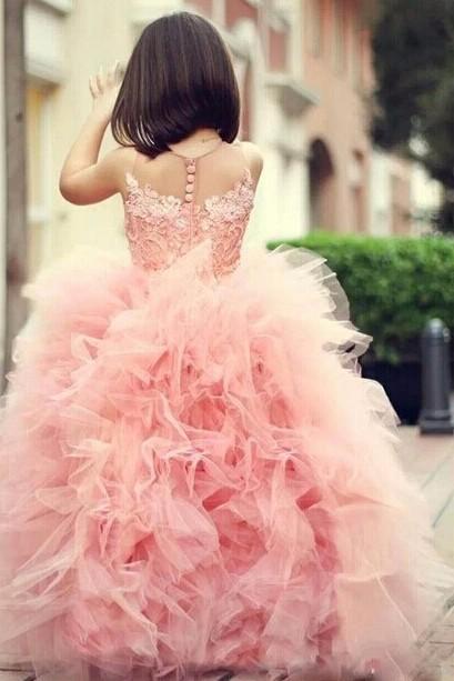 Flower Girls' Dress Blush Lace Backless Ball Gown Little Girl Birthday Party Dresses Evening Dress