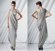 2015 Unique Design Hot Sale Appliques Arabic Party Evening Gowns Chiffon Silver Sheer Evening Dresses Vestido de festa RG230