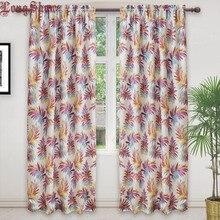 Modern Purple Color Camouflage Tropical Rainforest Leaves Design Jacquard Curtains for Living Room Bedroom