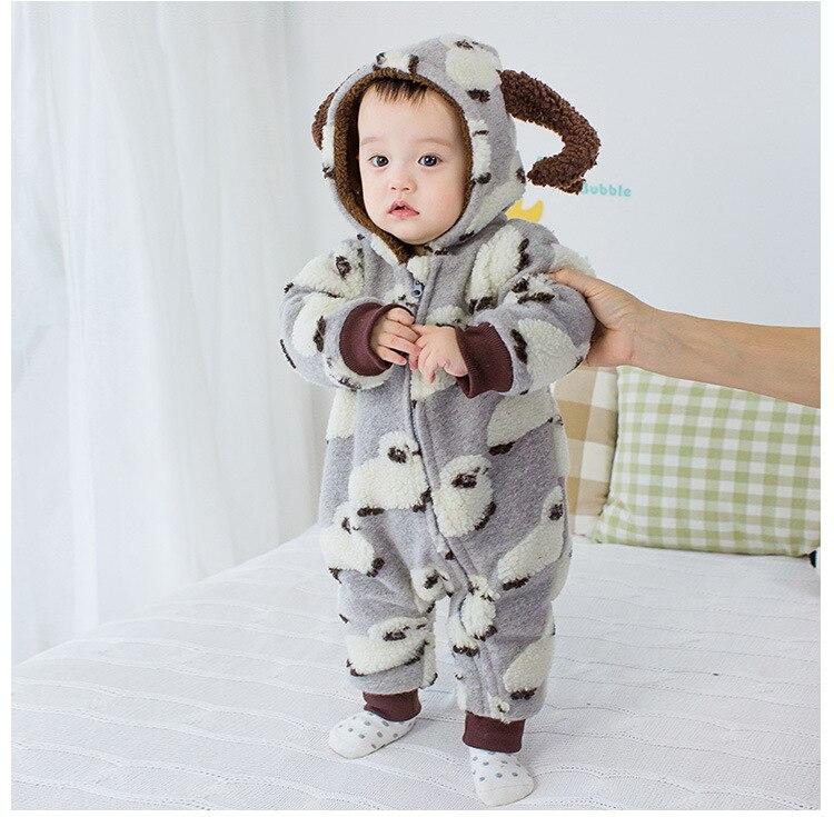 2016 New Autumn Winter Baby Romper Boys Girls Jumpsuit Winter Soft Hooded Warm Fleece Thicken Clothes Sheep Design WX236 от Aliexpress INT
