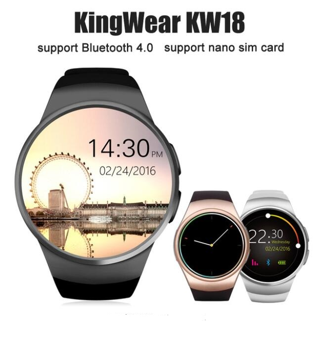 KW18 1 3 inch Bluetooth Smart Watch Phone MTK2502 Smartwatch Heart Rate Monitor Pedometer For apple
