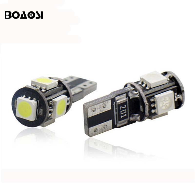 Boaosi 10x стайлинга автомобилей авто <font><b>LED</b></font> T10 194 <font><b>W5W</b></font> Canbus 5 SMD <font><b>5050</b></font> Светодиодная лампа Нет ошибки светодиодные парковка T10 сторона Свет автомобиля