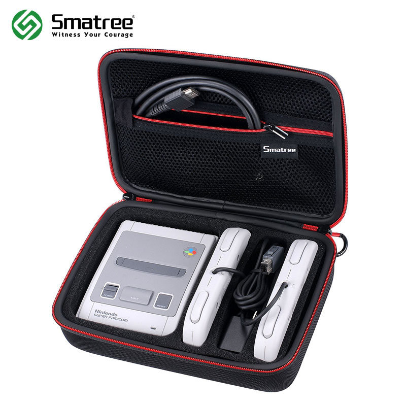 Smatree Carrying Case for Nintend Switch Case SNES Super NES Classic Mini(2018), Fits for 2 Controllers,Charger ans HDMI Cable for nes classic mini edition case travel storage hard shell for nes classic edition 2017 for snes classic edition case mini bag