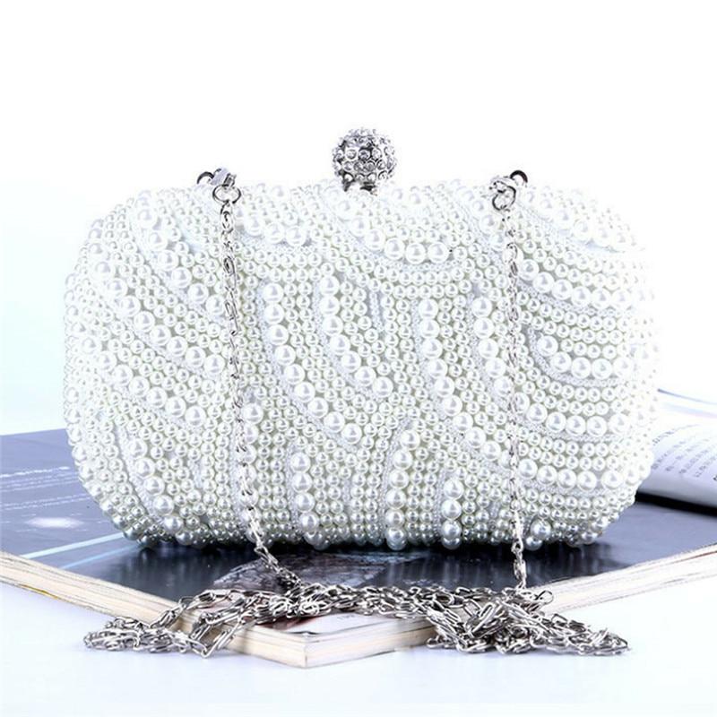 100% Hand Made Luxus Perle Kupplung Taschen Frauen Geldbörse Diamant Kette Weiß Abend Taschen Für Party Hochzeit Schwarz Bolsa Feminina