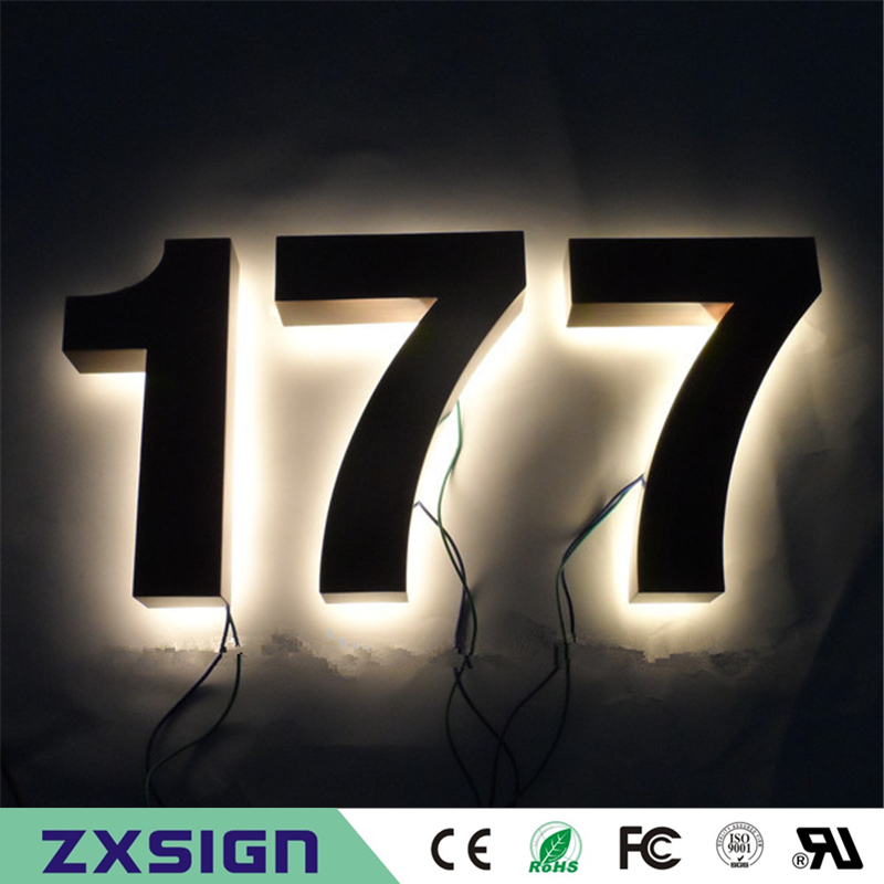 Factory Outlet 25cm High 304 Stainless Steel Backlit Led House Number Signs