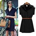 Wear To Work Epaulettes Turndown Collar Women's Tunic Button Up Shirt Dress Belt