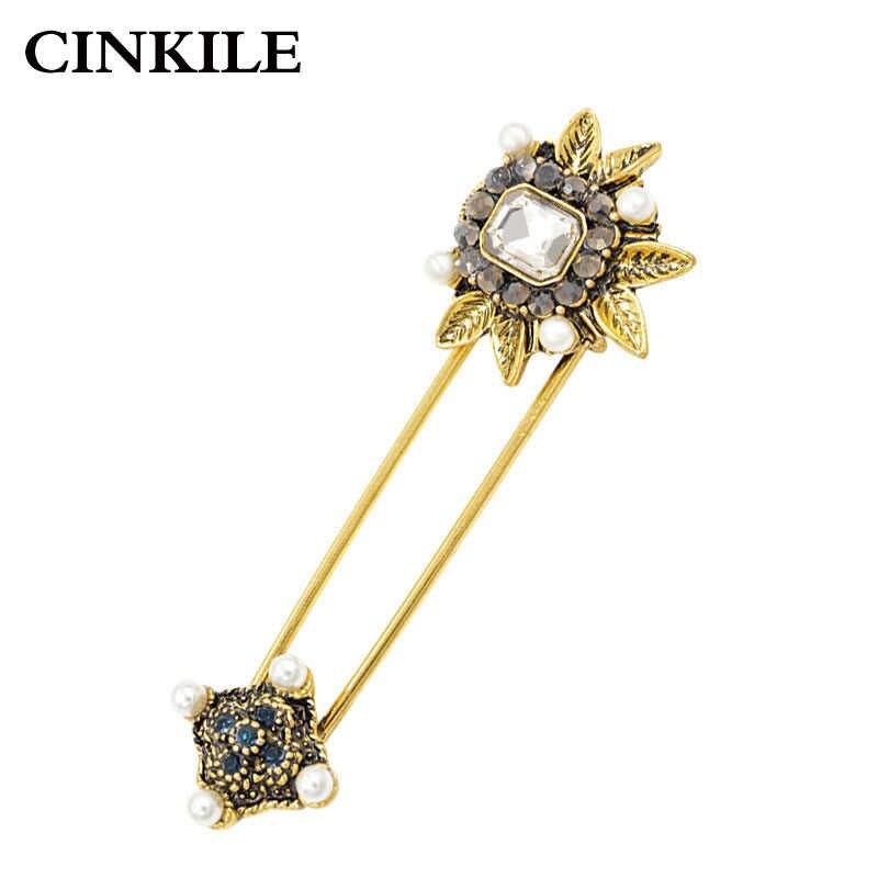 Cinkile 2018 New Crystal Bunga Pin Bros untuk Wanita Vintage Elegan Sweter Mantel Bros Aksesoris Musim Dingin Kualitas Tinggi Hadiah