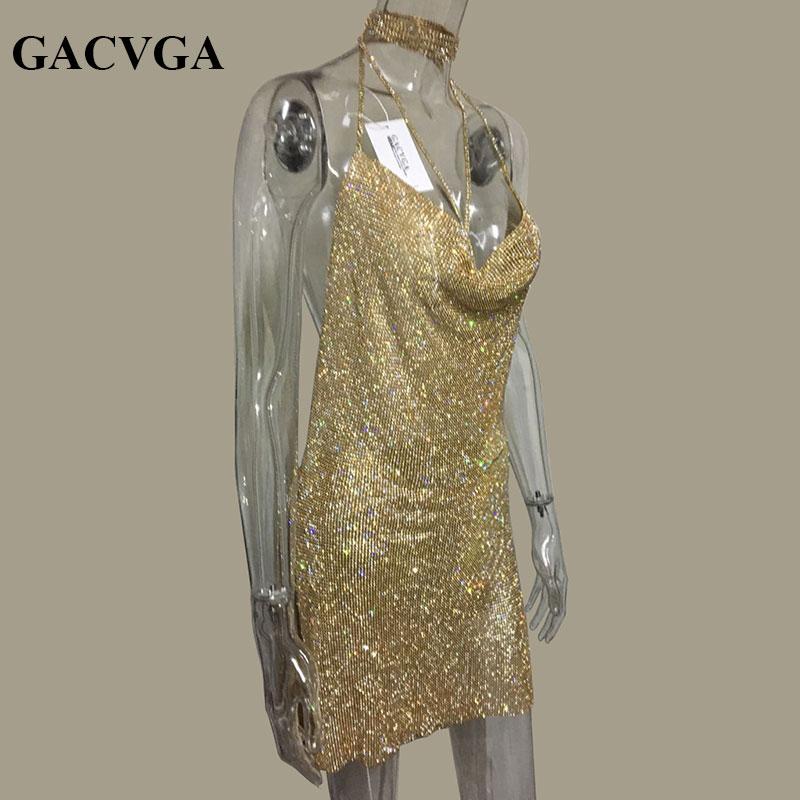 GACVGA 2019 Kristal Metal Halter Parlayan Yay Don Qadın Çimərlik - Qadın geyimi - Fotoqrafiya 5