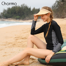 Charmo Women Rash Guard Swimwear Long Sleeve Rashguard Biking Shirts Surf Top Rushguard Running Shirt Striped Rash Guard UPF 50+ цена 2017