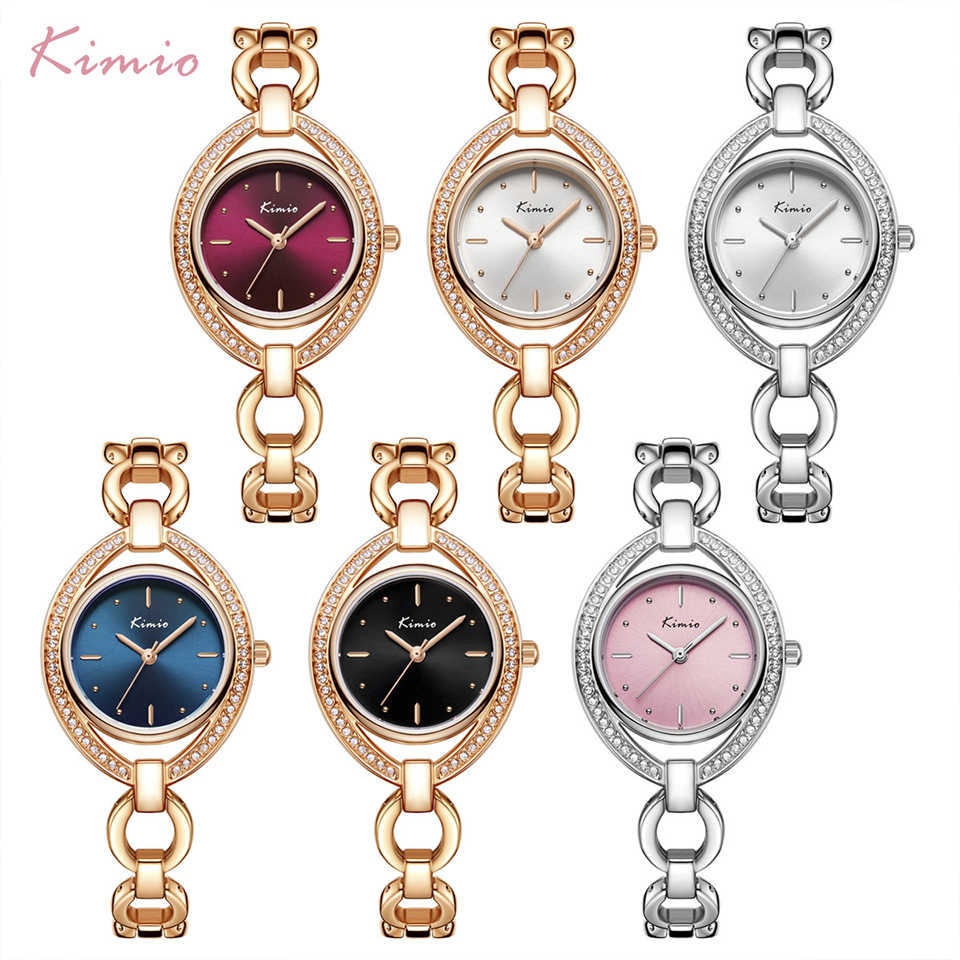 KIMIO מותג נשים יוקרה קריסטל ייחודי חיוג שעון עלה זהב חלול צמיד שמלת שעוני נשים יהלומי ריינסטון שעוני יד
