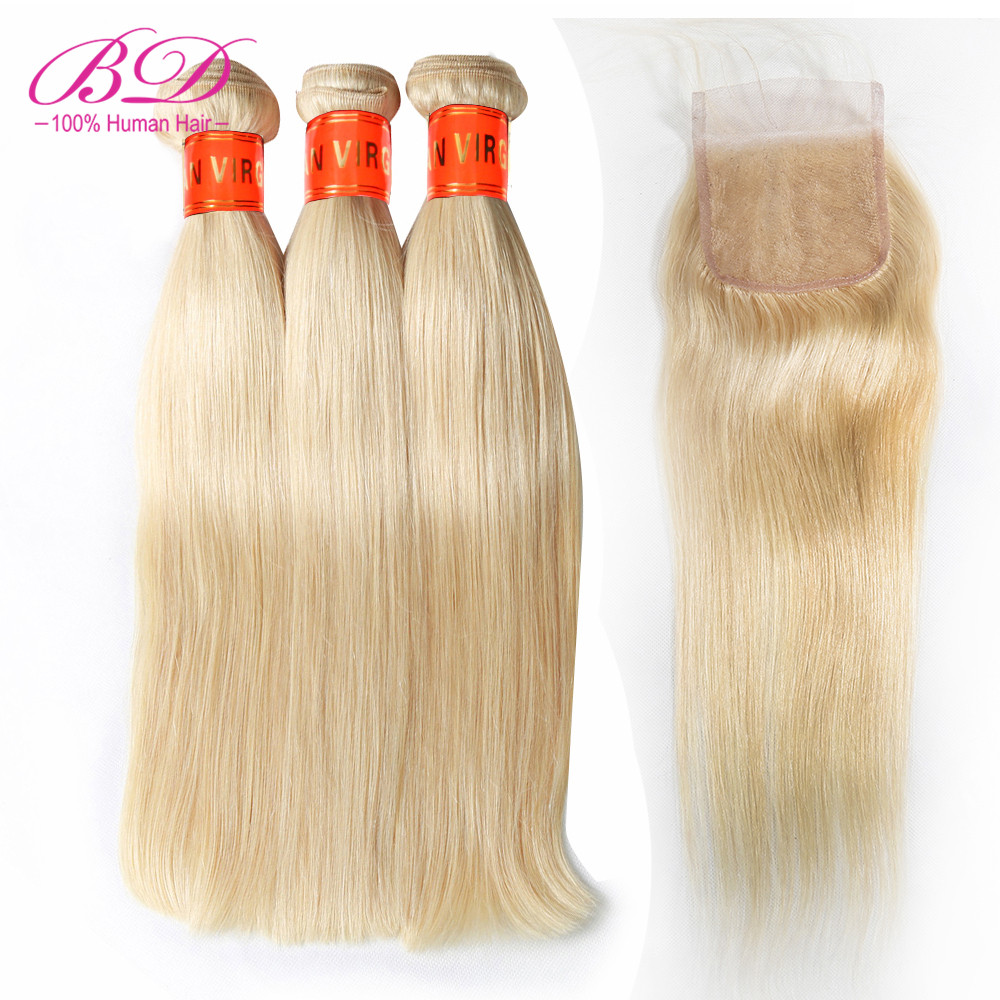 Malaysian Straight Blonde 613 Human Hair Bundles with Closure Remy Hair Lace Closure With Human Hair Bundles 4pcs/lot image