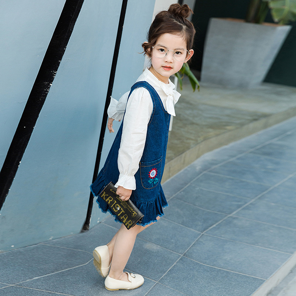 Fashion Girls Jeans Dress 2017 New Children Denim Clothing Sleeveless Kids Toddle Dresses Baby Girl Clothes Princess Dress