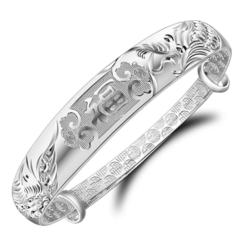999 fine silver jewelry mixed batch Dragon blessing bracelet silver cuff bracelet female models купить недорого в Москве