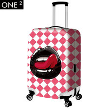 ONE2 design newest lip printing luggage cover, colorful and cute luggage protective covers for 26inch luggage covers
