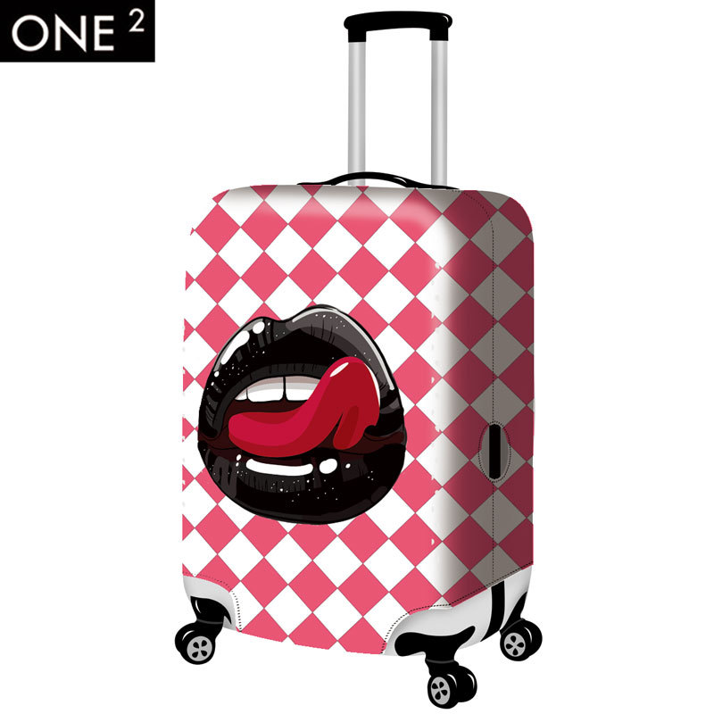 ONE2 design newest lip printing luggage cover colorful and cute luggage protective covers for 26inch luggage