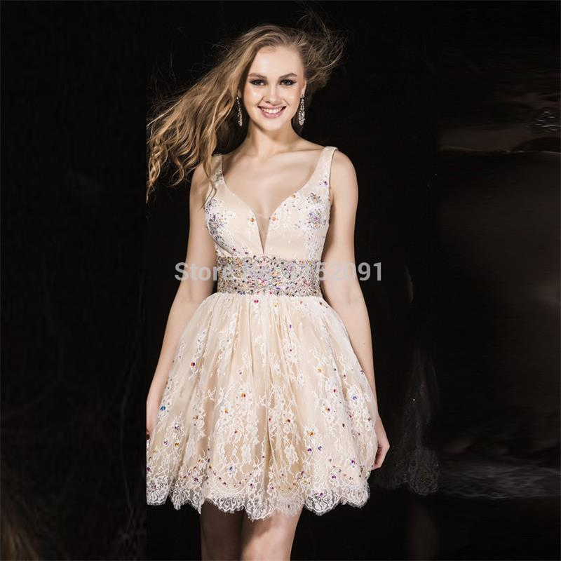 2016 Lace Short Homecoming Dresses Sexy V Neck Open Back A