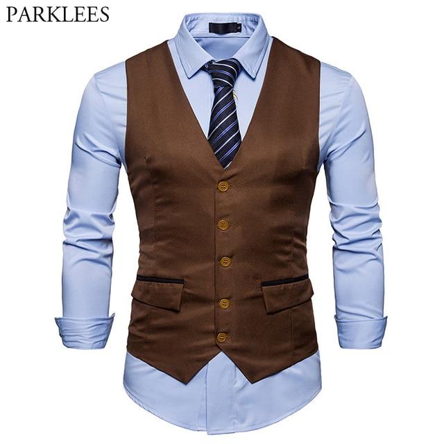 Mens Business Dress Suit Vest 2018 Fashion Casual Slim Fit Single Breasted  Tuxedo Vests Waistcoats Men Chalecos Para Hombre 2XL 01bbdd54e72a