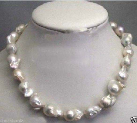 FREE SHIPPING>>@> very good Natural Large 15-23mm White Unusual Baroque Pearl Necklace disc Clasp 18