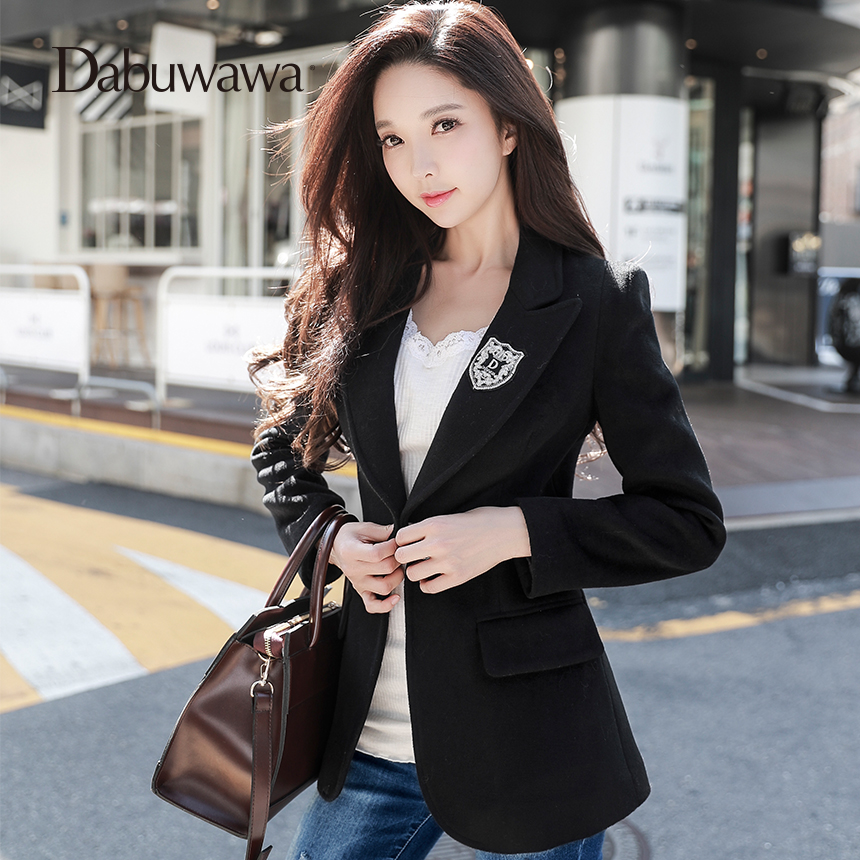 Dabuwawa Spring New Casual Blazers Jackets Outwear Women Ladies Black Feminino Coat Blazers Work Wear D17DJK003