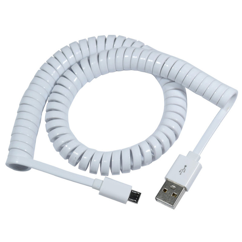 10ft 3M Spring Coiled USB 2.0 Male to Micro USB 5 Pin Data Sync Charger Stretch Cable for Samsung HTC LG Phones Free shipping retractable micro usb kabel charge usb to micro usb spring stretch cable data sync charger cord coiled cabo