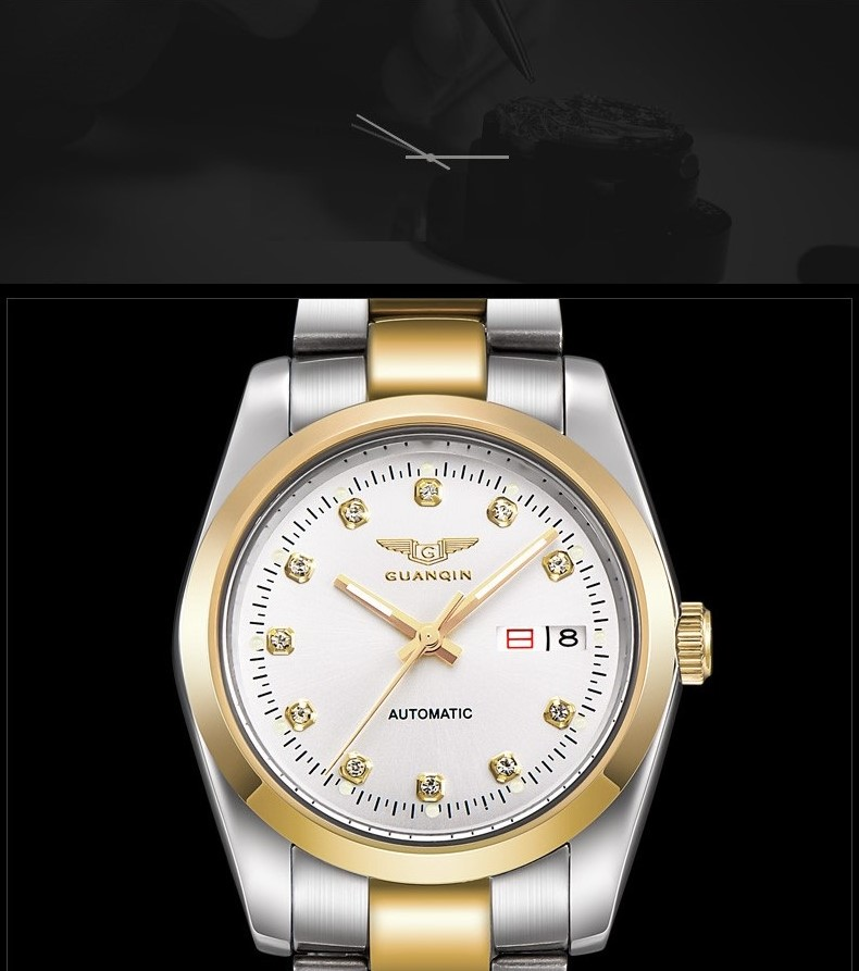 GUANQIN Gold Couple Watch Men Women Mechanical Watch Luminous Calendar Week Waterproof Rhinestones Automatic Lovers Watches (16)