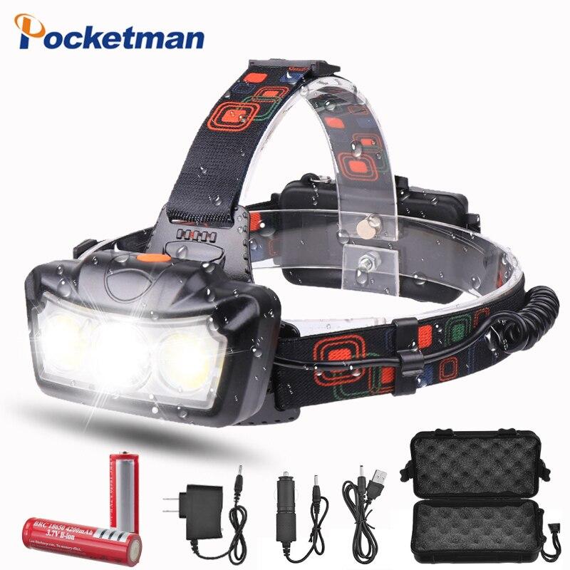 Headlamp Headlight Led T6 COB Head Torch Flashlight Head Light Super Bright Waterproof Headtorch Head Lamp