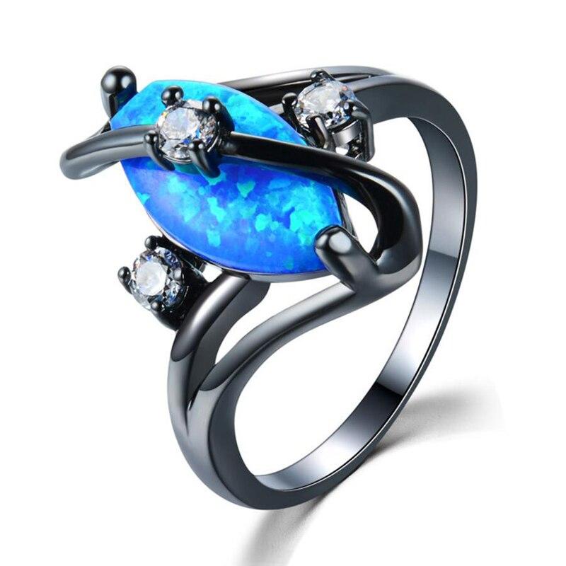 7e7325d43bde Negro Antiguo Plateado Vintage Azul Opal Anillos de Dedo Joyería de Moda  Con Piedra Sintética Mujeres