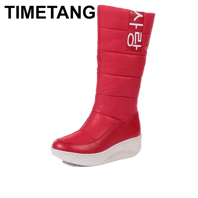 TIMETANG 2018 Ladies snow boots wedges heels slip on women winter boots fur inside mid calf boots sweet shoes E166 стоимость
