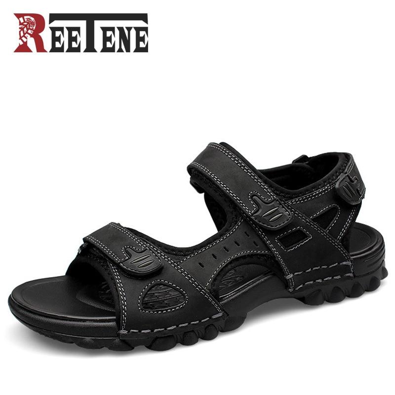 REETENE Full Grain Leather Men Sandals 2017 Fashion Sandals Shoes Casual Men Summer Shoes Soft Bottom Beach Sandals For Man