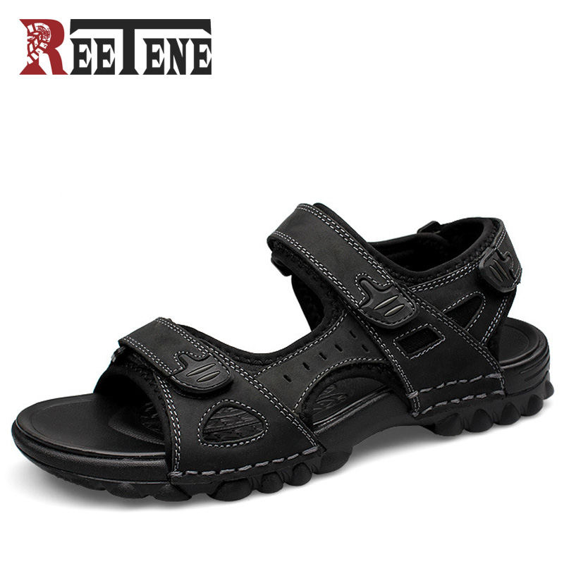 REETENE Full Grain Leather Men Sandals 2017 Fashion Sandals Shoes Casual Men Summer Shoes Soft Bottom Beach Sandals For Man