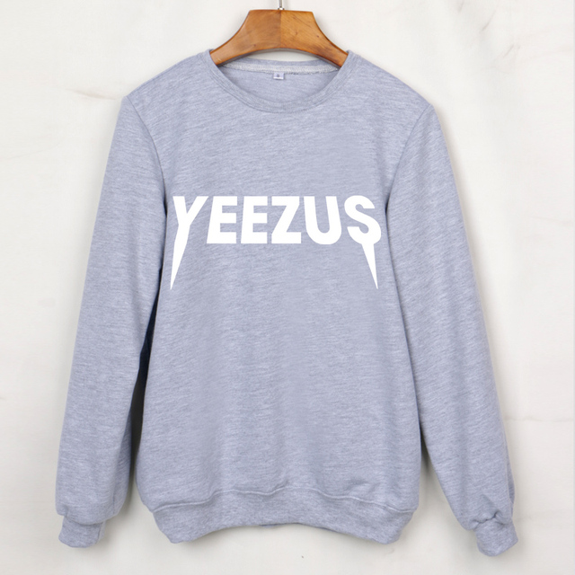 Harajuku 2016 YEEZUS Letter Print Women Sweatshirts Long Sleeve O-Neck Grey Hoodies Femme Autumn Clothing Moleton Feminino Hoody
