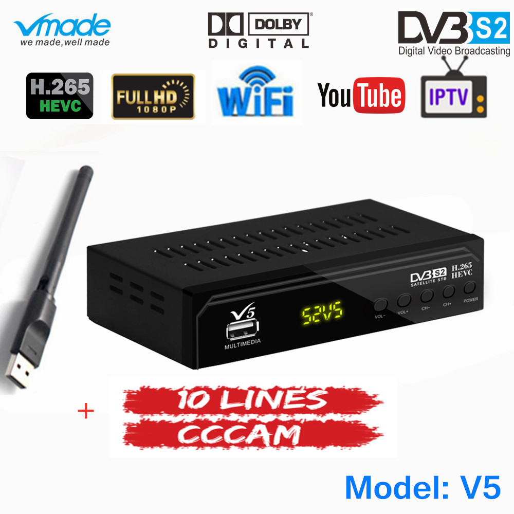 Free 1 Year Europe 10 Lines CCCAM Server With Fully HD DVB S2 Digital Satellite TV Receiver H.265 Support AC3 DVB S2 TV Box+WIFI